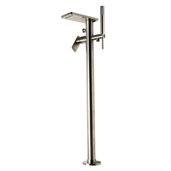 Double-Handle Freestanding Tub Faucet with Handheld in Brushed Nickel