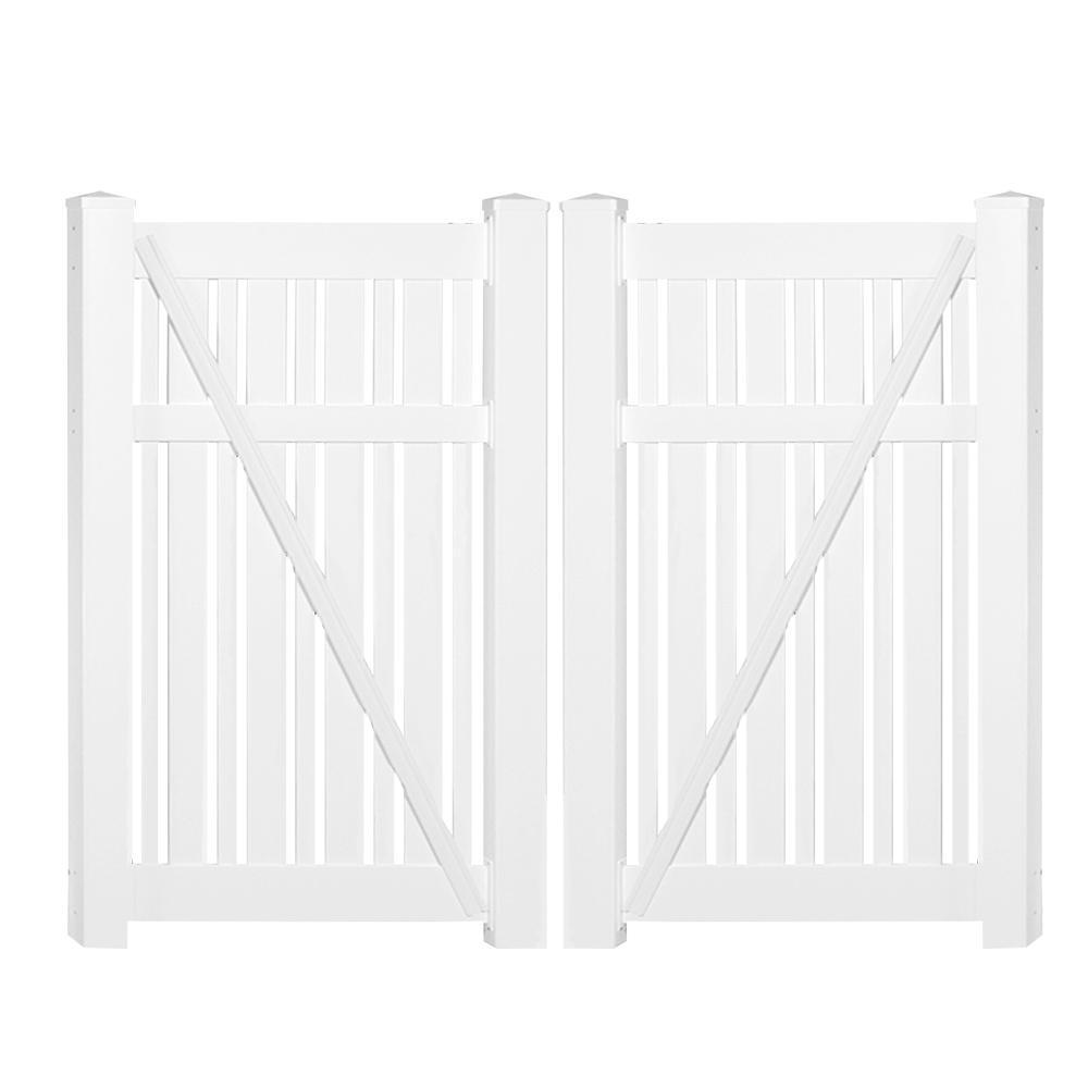 Davenport 7.8 ft. x 6 ft. White Vinyl Semi-Privacy Fence Gate