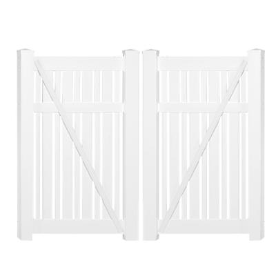 Davenport 7.8 ft. x 6 ft. White Vinyl Semi-Privacy Fence Gate Kit