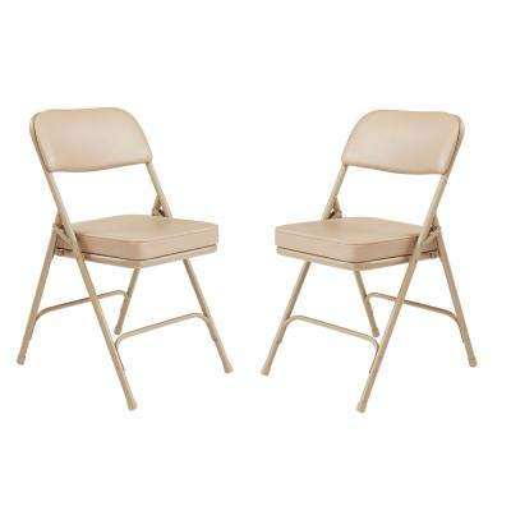 3200 Series Premium 2 in. Vinyl Upholstered Double Hinge Folding Chair, Beige (Pack of 2)