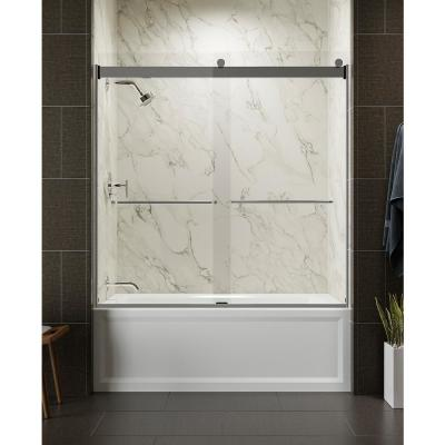 Levity 59 in. x 62 in. Semi-Frameless Sliding Tub Door in Silver with Handle and Clear Glass