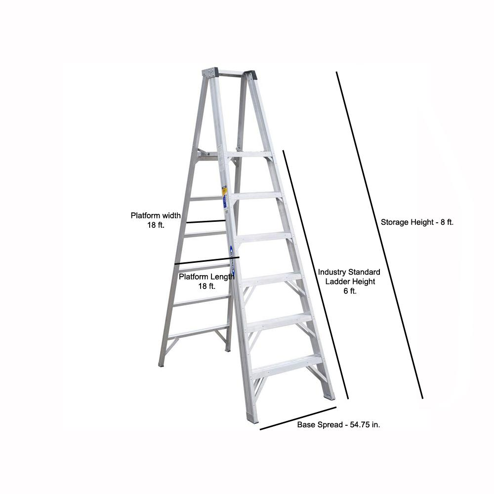 Werner 6 Ft Aluminum Platform Step Ladder With 300 Lb Load Capacity Type Ia Duty Rating P376 The Home Depot