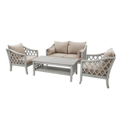 Skye 4-Piece Wood Patio Conversation Set with Brown Cushions