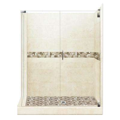 Tuscany Grand Hinged 42 in. x 48 in. x 80 in. Right-Hand Corner Shower Kit in Desert Sand and Chrome Hardware