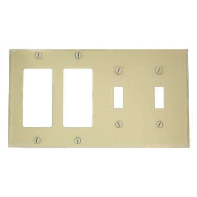 4-Gang 2-Toggles 2-Decora Standard Size Combination Painted Metal Wall Plate, Ivory
