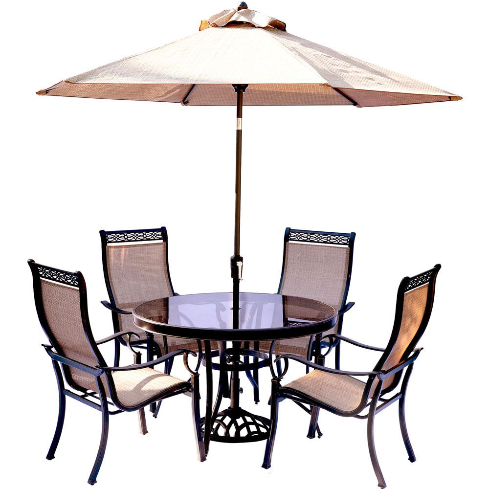 Hanover Monaco 5 Piece Outdoor Dining Set With Round Glass Top Table And  Contoured