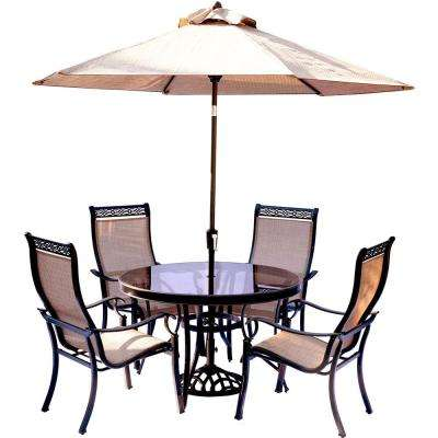 Monaco 5-Piece Outdoor Dining Set with Round Glass-Top Table and Contoured Sling Stationary Chairs, Umbrella and Base