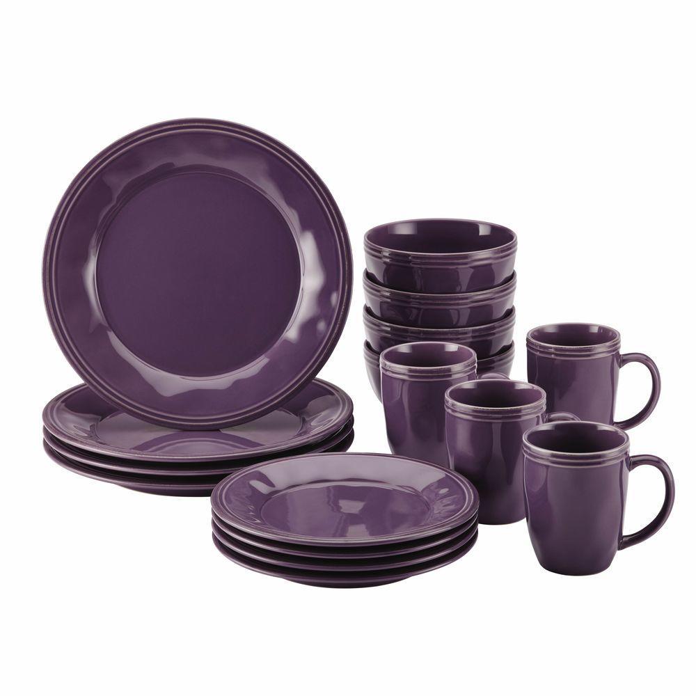 Cucina Dinnerware 16-Piece Stoneware Dinnerware Set in Lavender Purple
