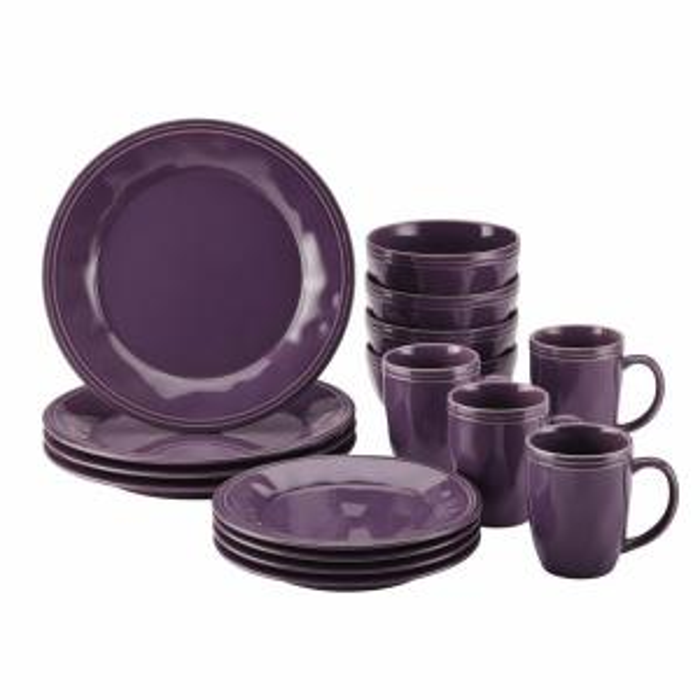 Click here to buy Rachael Ray Cucina Dinnerware 16-Piece Stoneware Dinnerware Set in Lavender Purple by Rachael Ray.