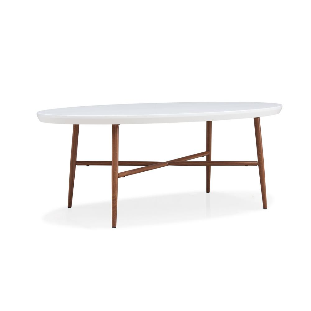 Oval Coffee Table With Metal Legs: Handy Living Miami White Oval Cocktail Table With Brown