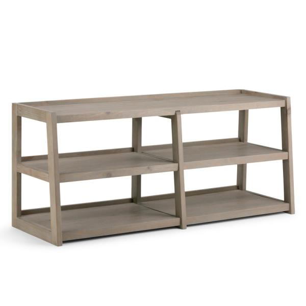 Simpli Home Sawhorse Solid Wood Wide TV Media Stand in Distressed Grey for TVs Upto 65 in.
