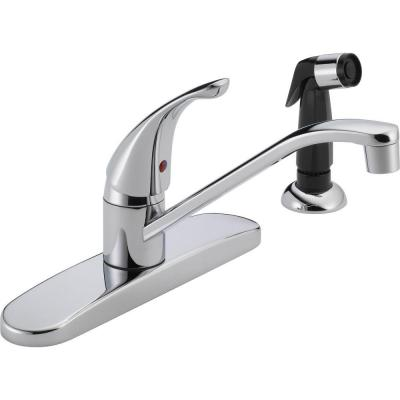 Core Single-Handle Standard Kitchen Faucet with Side Sprayer in Chrome