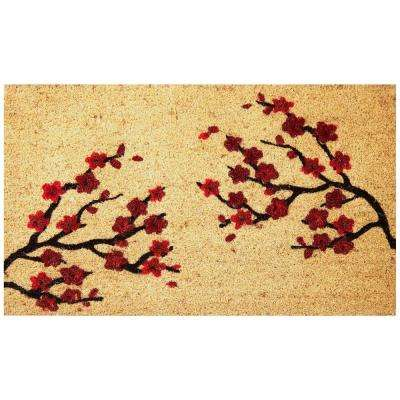 Seasonal Collection Cherry Blossoms 18 in. x 30 in. Coir with Non-Slip Backing Outdoor Door Mat
