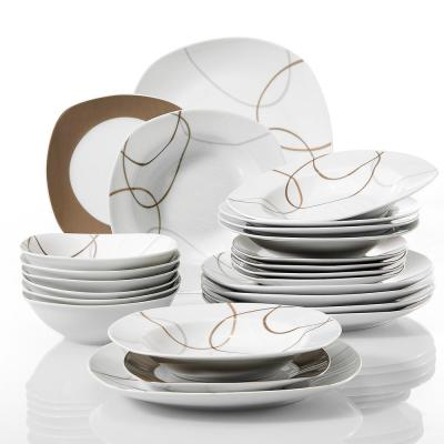 NIKITA 24-Piece White with Brown Lines Pattern Porcelain Dinner Plates and Bowls Set (Service for 6)