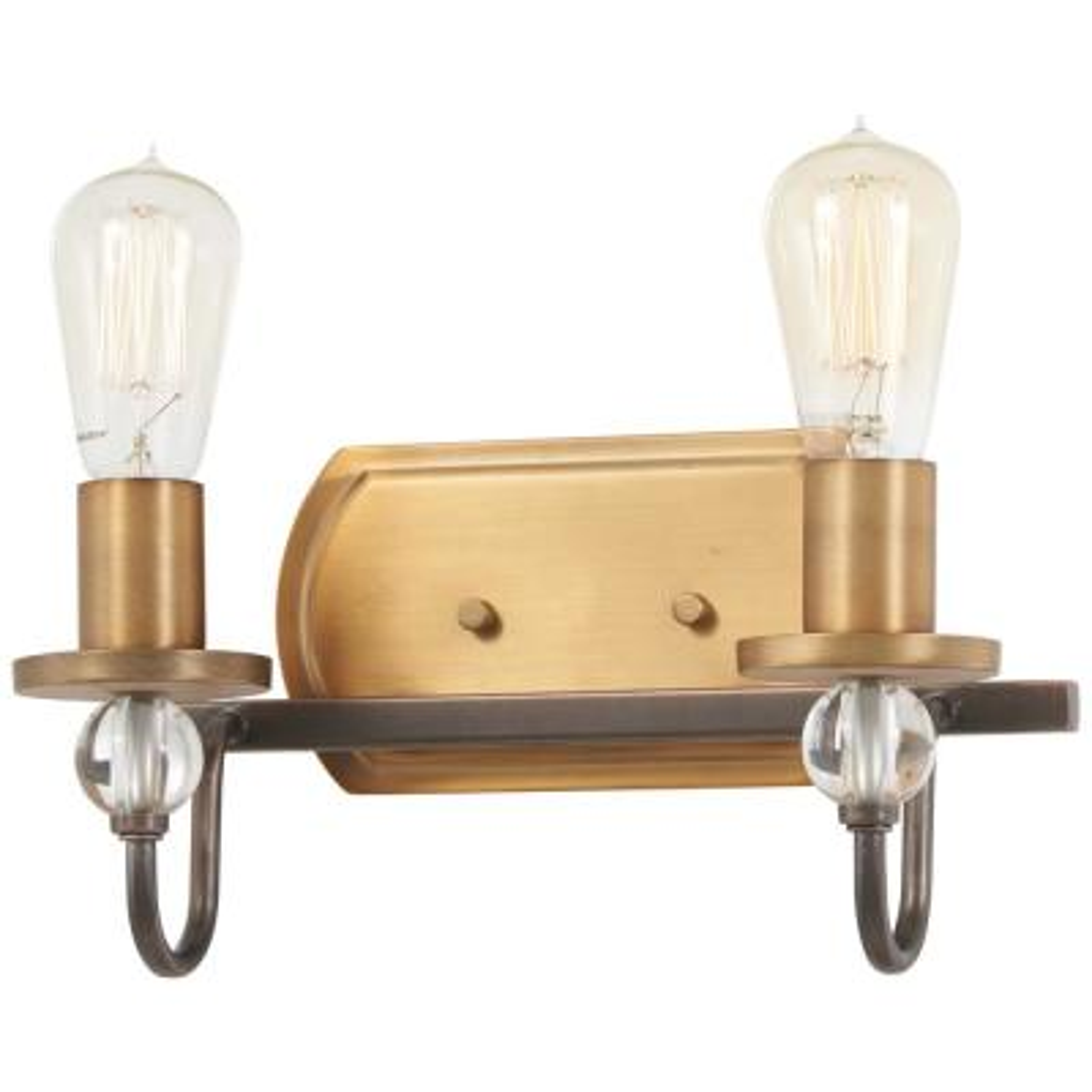 Safra 2-Light Harvard Court Bronze with Brushed Brass Bath Light