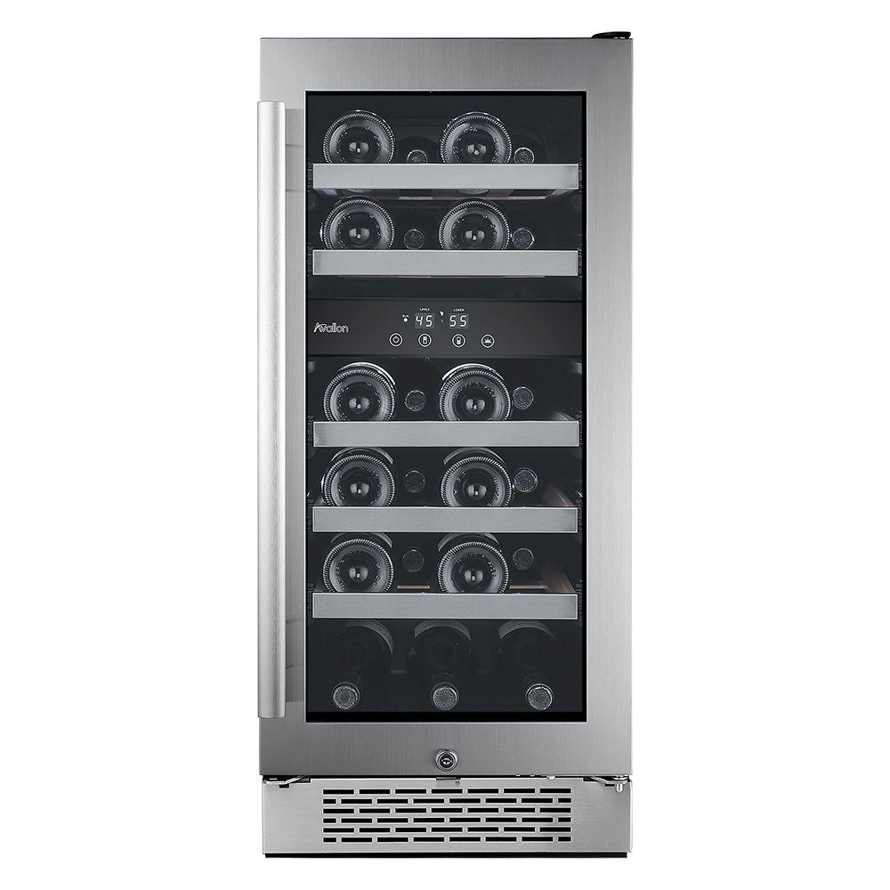 23-Bottle 15 in. Dual Zone Built-in Wine Cooler with Argon Filled