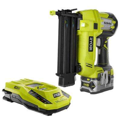 18-Volt ONE+ Lithium-Ion Cordless AirStrike 18-Gauge Brad Nailer with (1) 4.0 Ah Battery and 18-Volt Charger