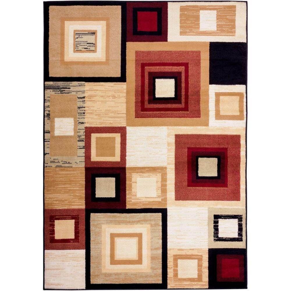 Well Woven Miami Sensation Squares Modern Geo Mid Century 5 Ft. X 7 Ft