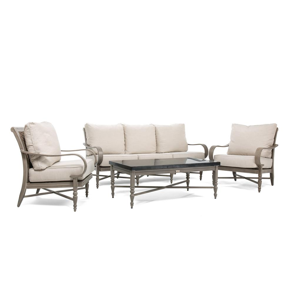 Saylor Wicker 4-Piece Aluminum Outdoor Sofa Seating Set with Outdura Remy
