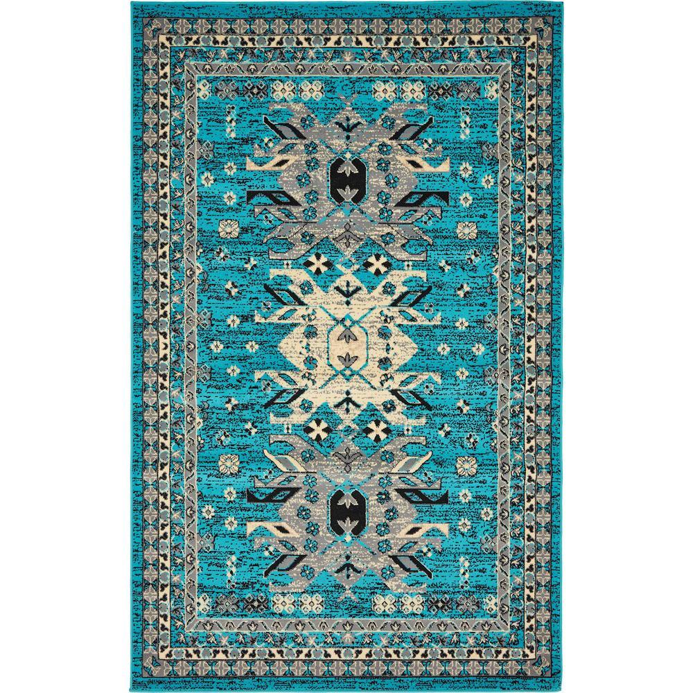 Taftan Oasis Turquoise 5' 0 x 8' 0 Area Rug