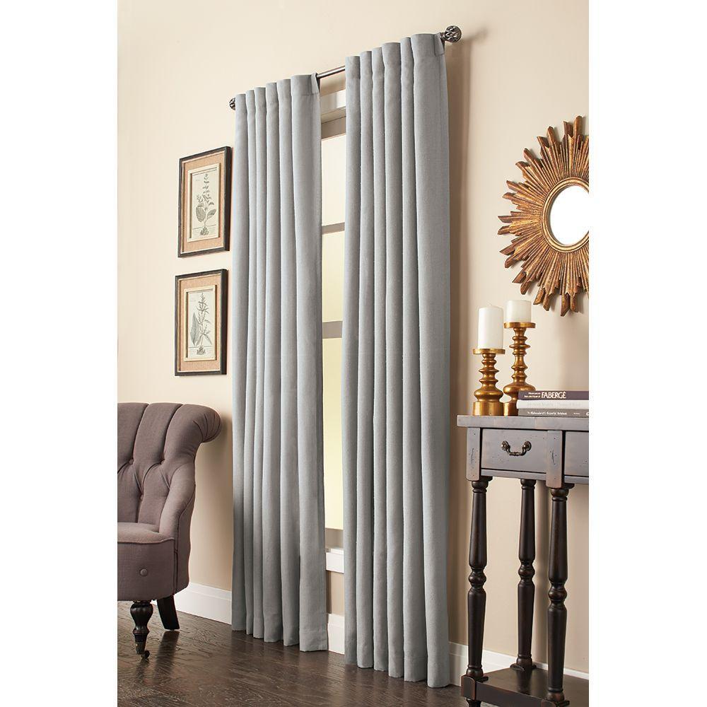 Semi-Opaque Grey Faux Linen Back Tab Curtain - 50 in. W