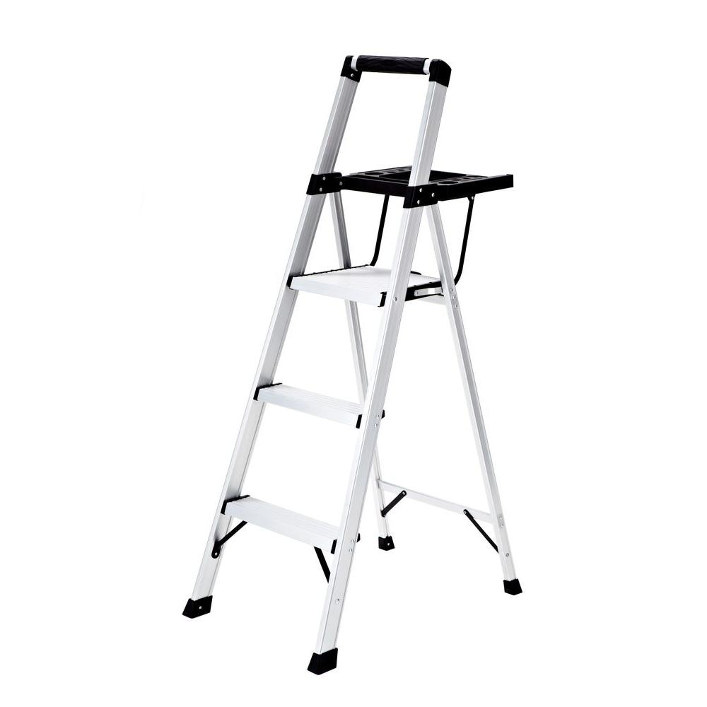 Rubbermaid 3-Step Aluminum Step Stool with Project Tray 250 lb. Load Capacity Type  sc 1 st  The Home Depot & Rubbermaid 3-Step Aluminum Step Stool with Project Tray 250 lb ... islam-shia.org