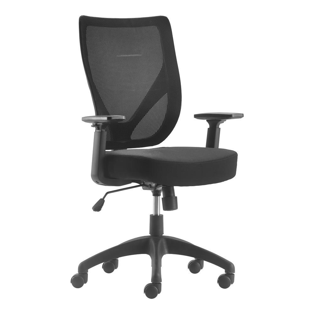 Works Ergonomic Mesh Black Office Chair with Nylon Base