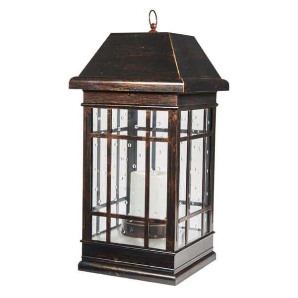 San Rafael Estate Mission 2-Light Integrated LED Solar Candle Lantern in Antique Bronze