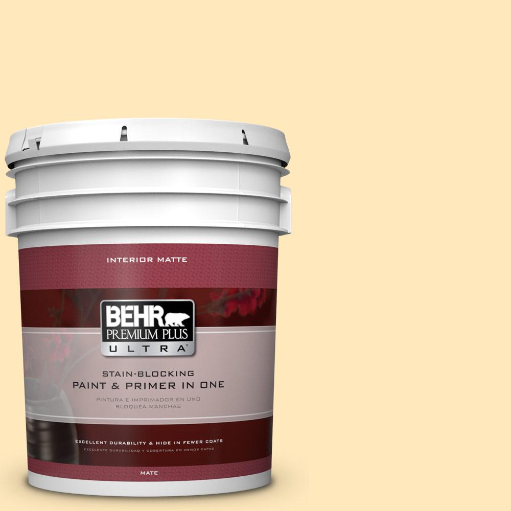 High Quality BEHR Premium Plus Ultra 5 Gal. #PPL 69 Sunkissed Yellow Matte Interior Paint