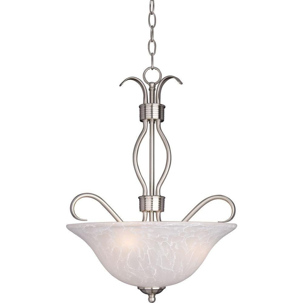 Maxim Lighting Basix 3-Light Satin Nickel Invert Bowl Pendant