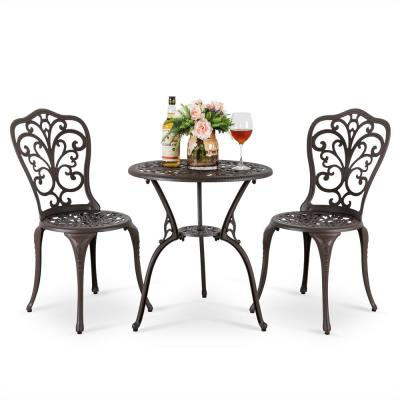 Antique Bronze 3-Piece Aluminum Outdoor Bistro Set with Round Patio Table and 2-Bistro Chairs