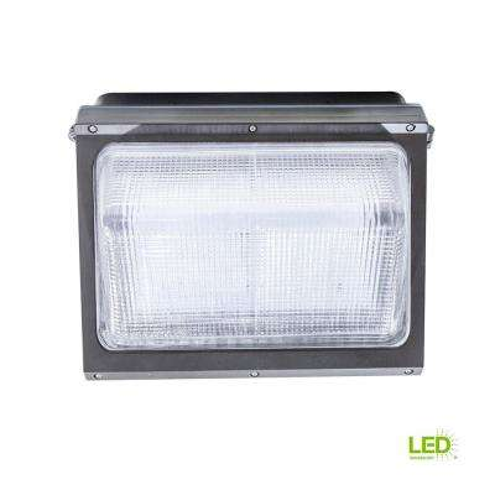 80-Watt Bronze Outdoor Integrated LED Wall Pack Light with 8800-Lumens