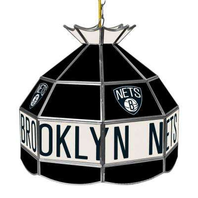 Brooklyn Nets NBA 16 in. 1-Light Stainless Steel Hanging Tiffany Style Lamp