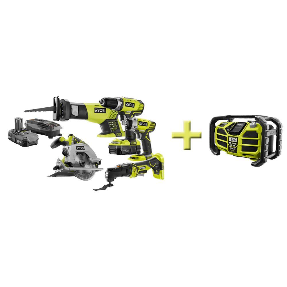 Ryobi One+ 18-Volt Lithium-Ion Combo Kit (5-Tool) with Free Stereo