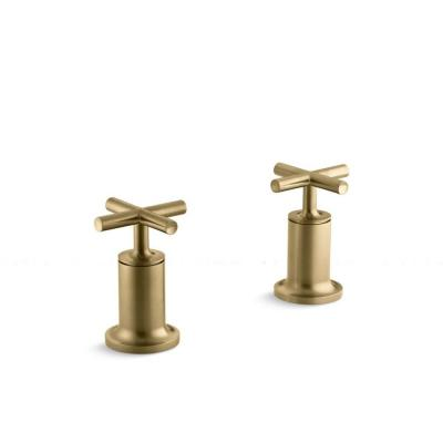 Purist 2-Handle Deck or Wall-Mount Bath Valve Trim Kit in Vibrant Modern Brushed Gold (Valve Not Included)