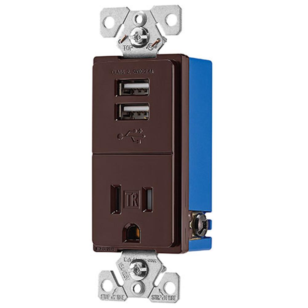 Usb Port Electrical Outlets Receptacles Wiring Devices Light 15 Amp Circuit Guard Gfci Receptacle Ivory Hd Supply 24 Charger With Single Brown