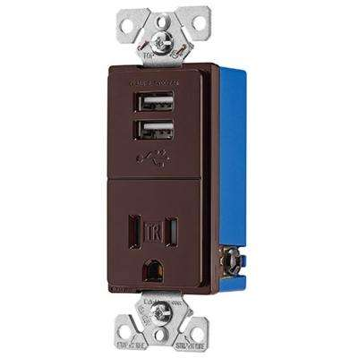 2.4 Amp USB Charger with Single Receptacle, Brown