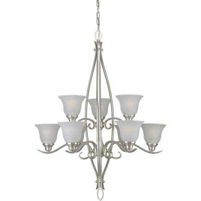 9-Light Brushed Nickel Chandelier with White Linen Glass