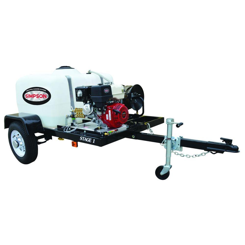 4200 psi at 4.0 GPM with HONDA GX390 CAT Triplex Pump Professional Gas Powered Pressure Washer Trailer
