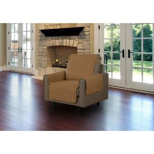 Camel Microfiber Chair Pet Protector Slipcover with Tucks and Strap by