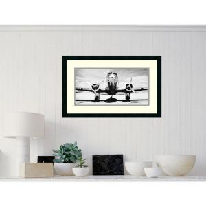 Amanti Art 32 inch x 20 inch Outer Size 'Passenger Airplane on Runway' by Philip Gendreau Framed Art Print by Amanti Art
