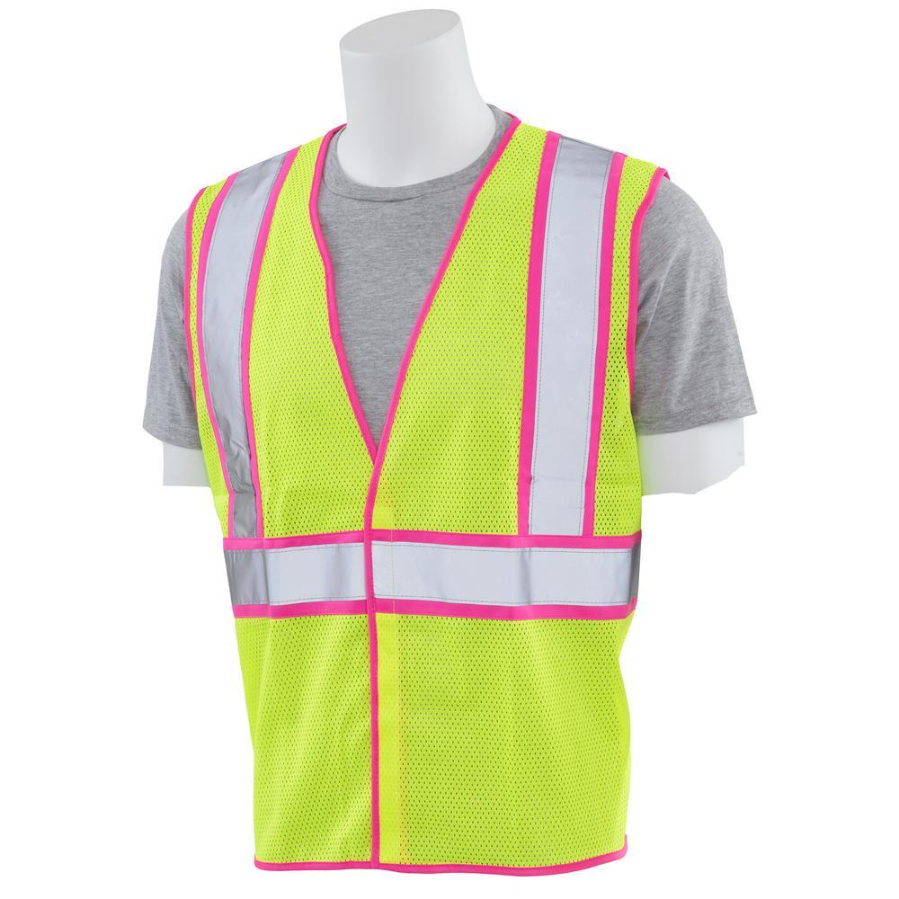 S730 Large Class 2 Unisex Vest in Hi-Viz Lime Mesh with Pink Trim