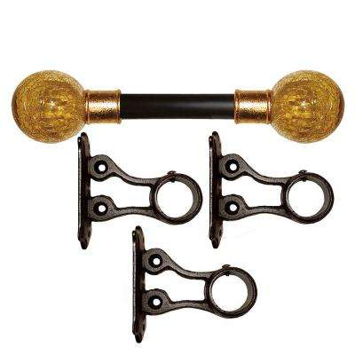 8 ft. Fixed Length 1 in. Dia. Metal Drapery Rod Set in Gilded with Amber Crackle Finial