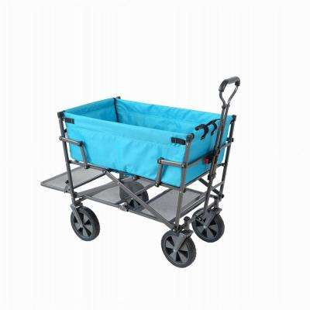 Heavy-Duty Double Decker Collapsible Yard Cart Wagon, Light Blue