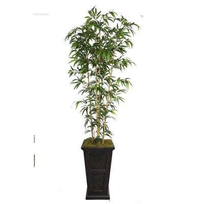 91 in. Tall Natural Bamboo Tree in 16 in. Fiberstone Planter