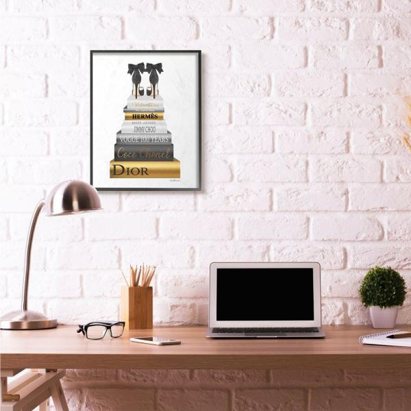 Stupell Industries 24 In X30 In Fashion Designer Shoes Bookstack Black Gold Watercolor By Amanda Greenwoodframed Wall Art Agp 191 Fr 24x30 The Home Depot