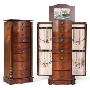 Wood Jewelry Cabinet Armoire Box Storage Chest Stand Organizer Christmas Gift Walnut