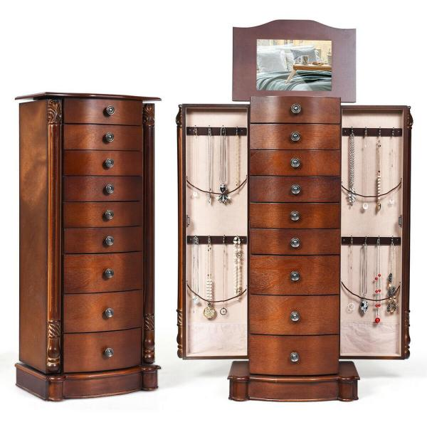 Costway Wood Jewelry Cabinet Armoire Box Storage Chest Stand Organizer Christmas Gift Walnut Hb83505 The Home Depot
