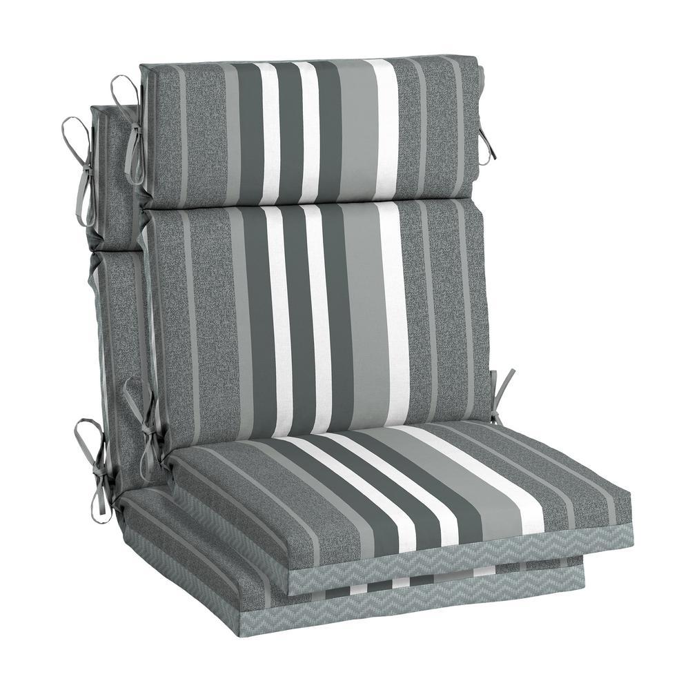 DriWeave 21.5 x 44 Petersburg Stripe High Back Outdoor Chair Cushion (2-Pack)