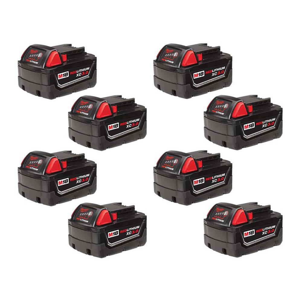 Milwaukee M18 18-Volt Lithium-Ion XC Extended Capacity Battery Pack 3.0Ah (8-Pack)